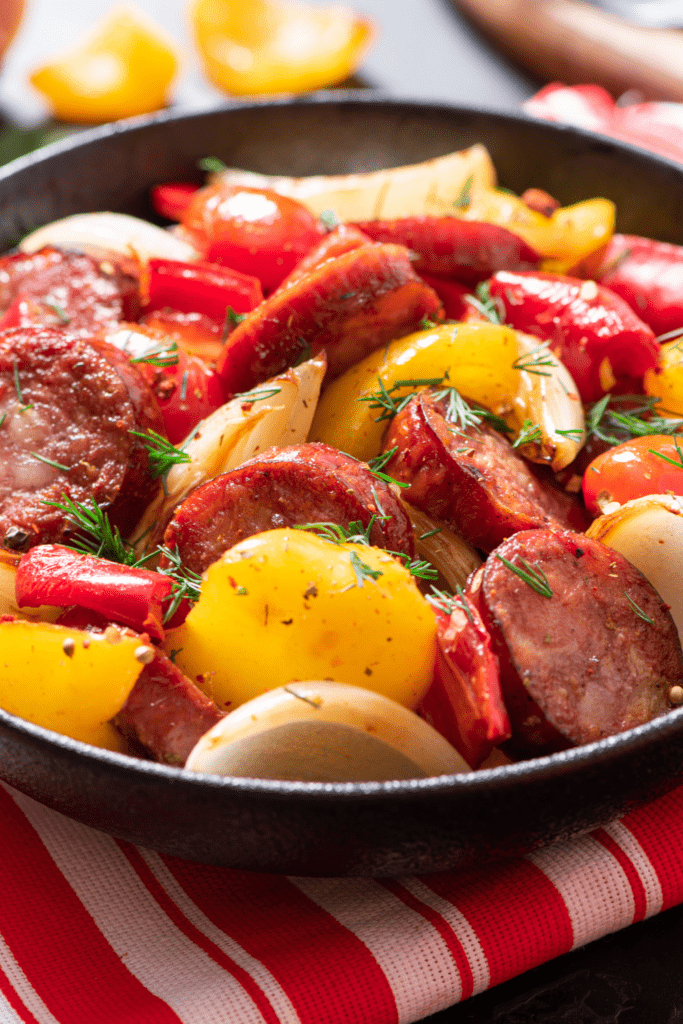 Sausages with Peppers, Onions and Tomatoes