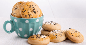 Shortbread Cookies with White and Black Sesame Seeds