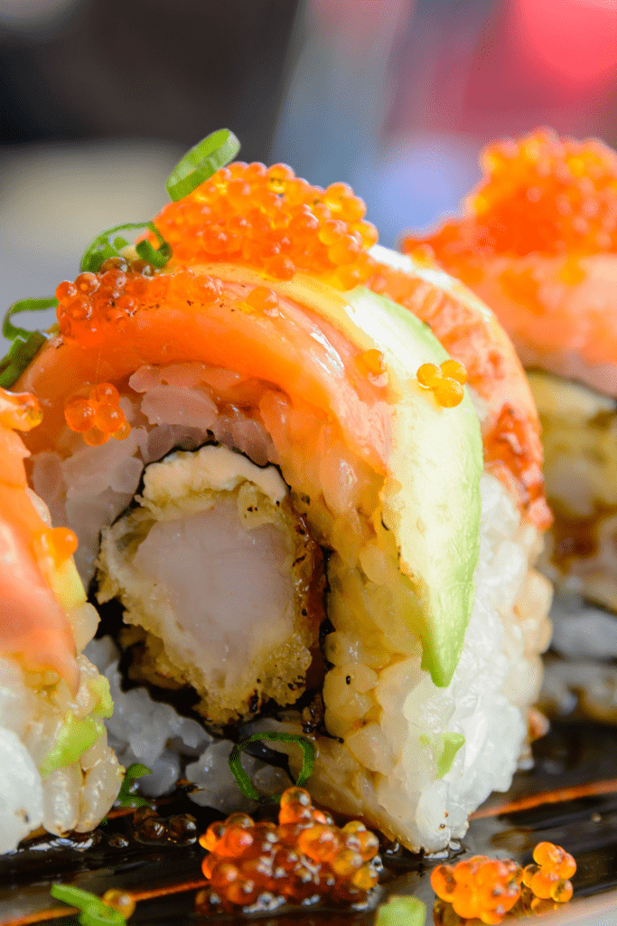 Sushi Roll with Salmon and Tempura