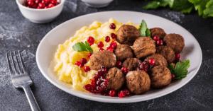 Swedish Meatballs with Pomegranate and Cream Sauce
