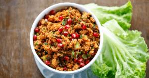 Turkish Bulgur Salad with Pomegranate, Tomato Paste and Cucumber