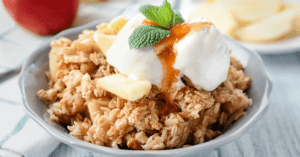 Apple Crisp with Ice Cream in a Bowl