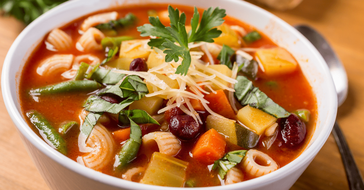 Bowl of Minestrone Soup with Pasta Beans and Vegetables