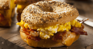 Breakfast Bagel Sandwich with Bacon and Egg