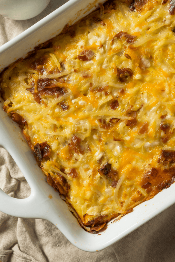 Breakfast Casserole with Potatoes, Sausage and Cheese