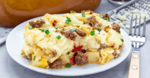 Breakfast Egg Casserole with Potatoes and Sausage