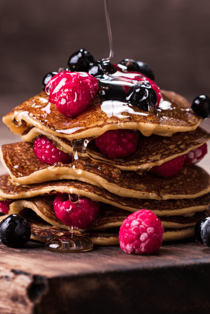 Buckwheat Pancakes with Berries and Honey