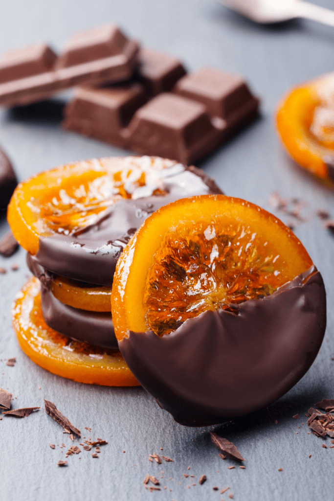 Candied Orange Slices Covered with Chocolates