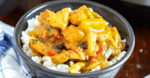 Chicken Curry and Rice in a Bowl