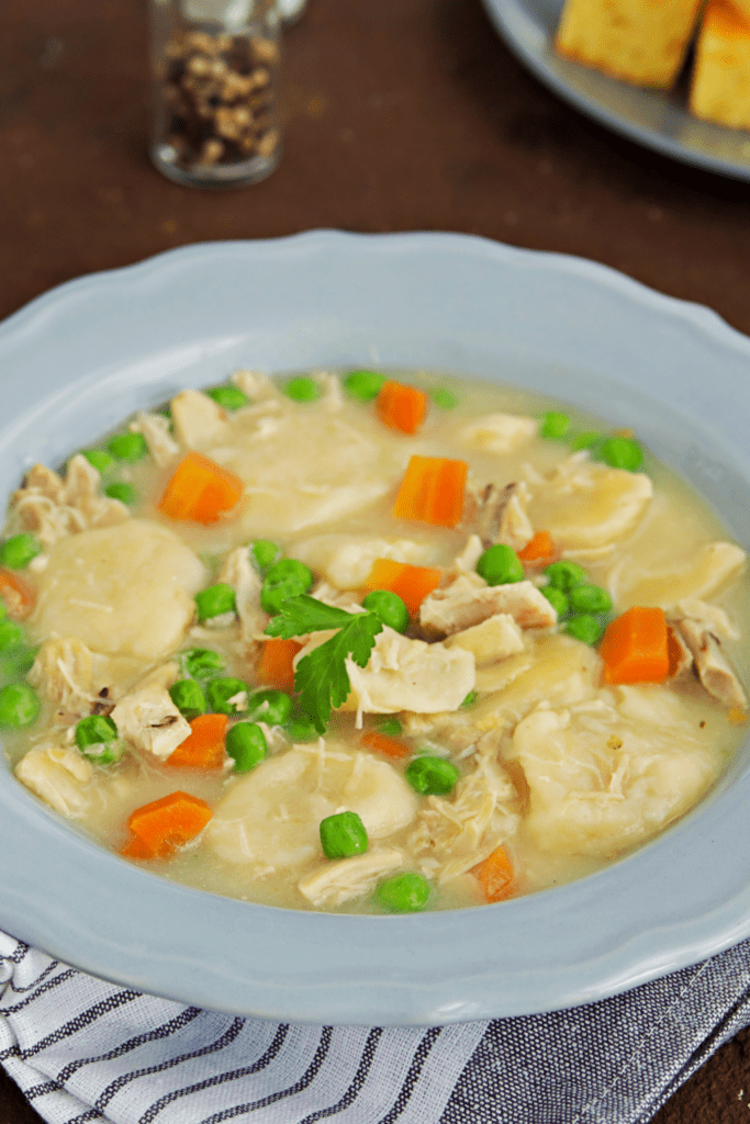 Chicken and Dumplings with Carrots and Green Peas