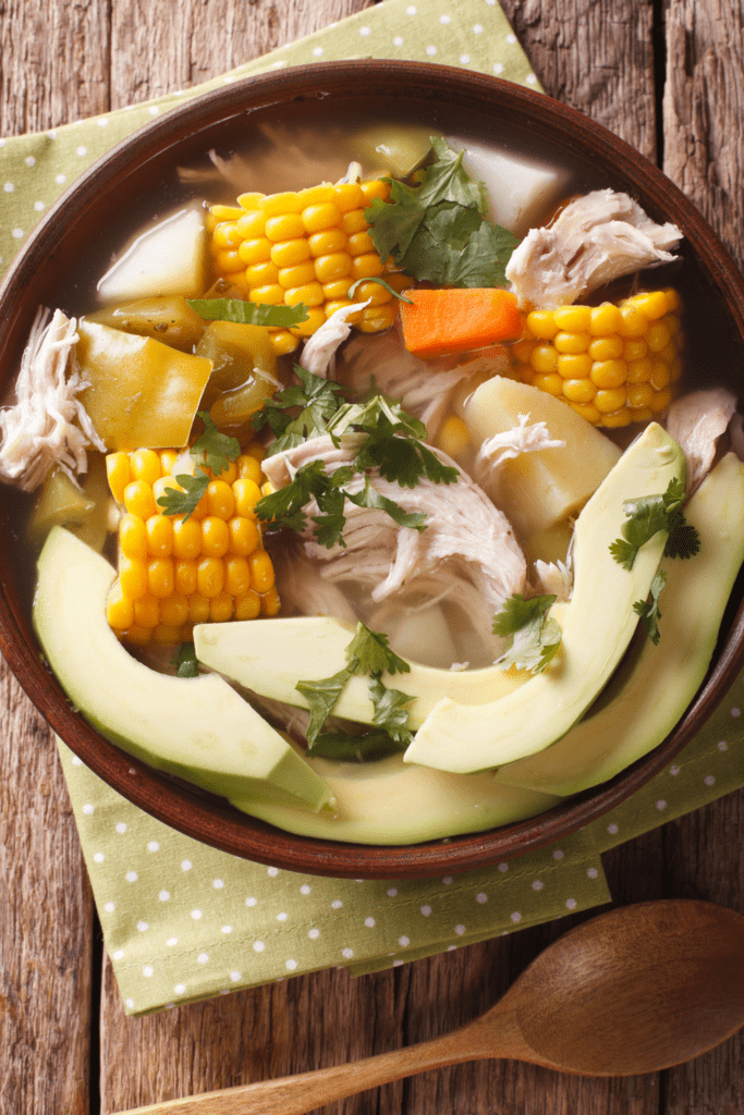 Colombian Ajiaco Soup with Corn and Avocado