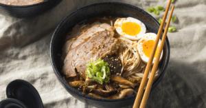 Homemade Asian Pork Ramen in a Black Bowl