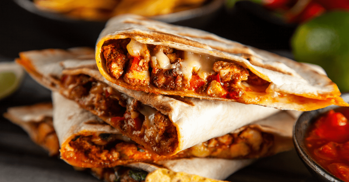 Homemade Chicken Quesadillas with Paprika and Cheese