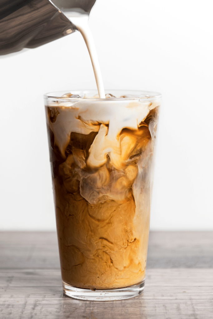Iced Coffee Latte with Milk and Cream
