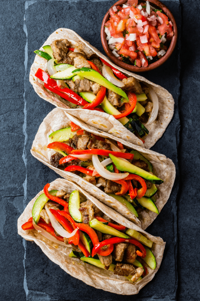 Pork Tacos with Vegetables and Salsa
