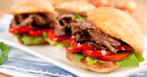 Pulled Roast Beef Slider Sandwiches with Bell Peppers