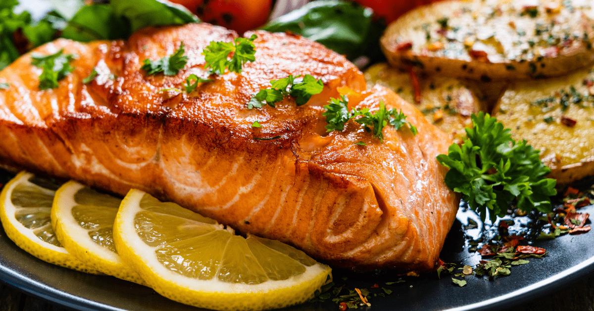 Salmon Steak with Herbs and Lemons