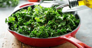Sauteed Kale in a Cast Iron Pan