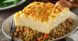 Shepherd's Pie with Mashed Potatoes, Minced Meat and Vegetables