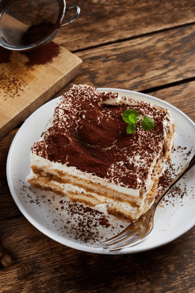 A slice of tiramisu for dessert