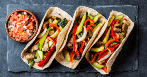 Tacos with Pork, Vegetables and Salsa