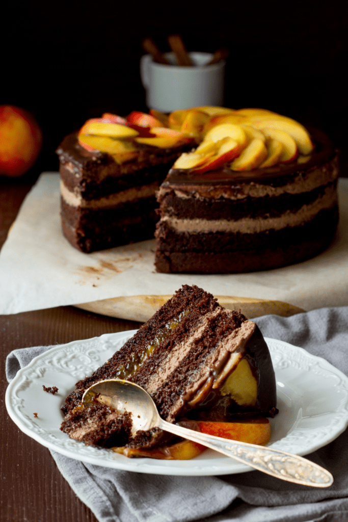Sliced Chocolate Cake with Nectarine Toppings