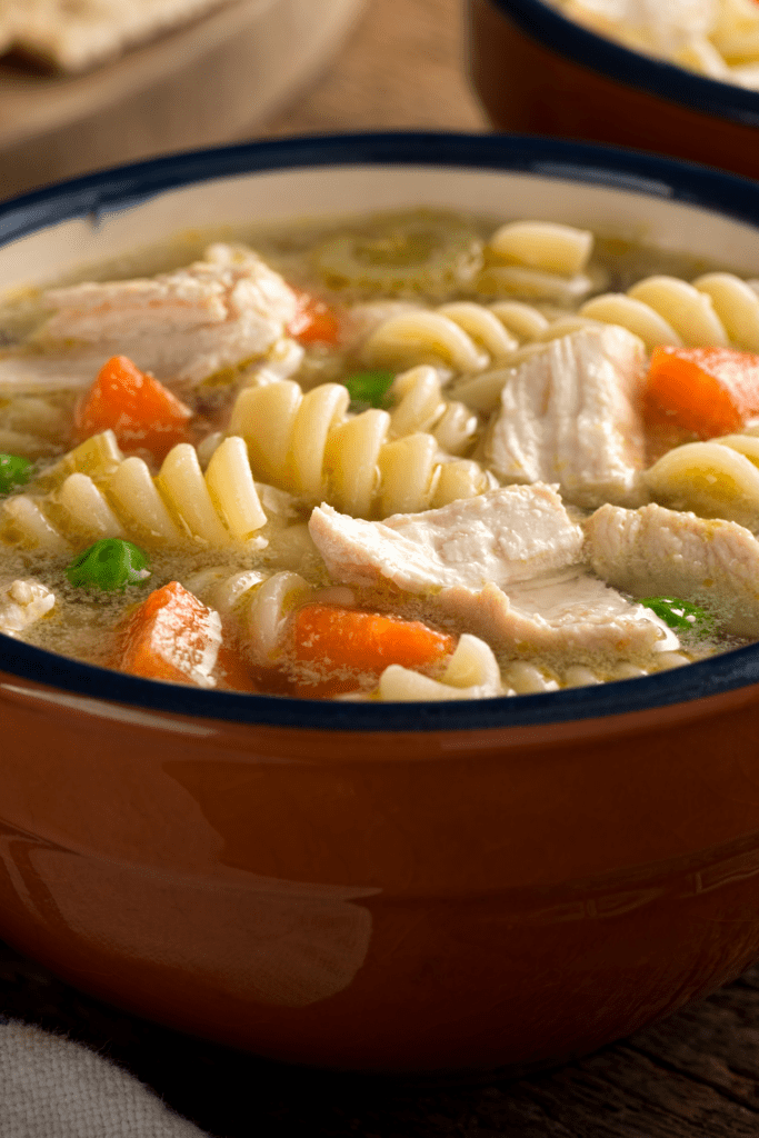 Bowl of chicken noodle soup