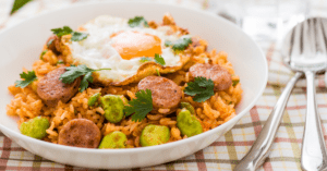Bowl of Fried Rice with Hotdog and Egg