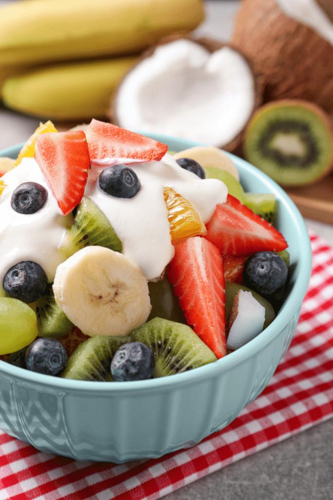 Bowl of Fruit Salad with Yogurt
