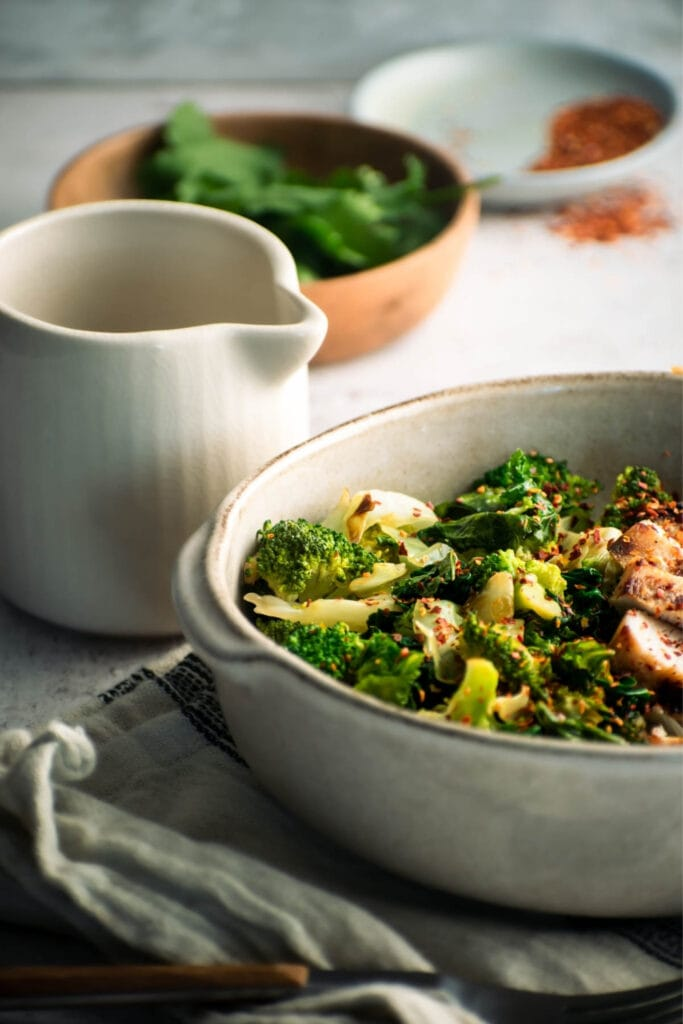 Bowl of Stir-Fried Green Vegetables with Grilled Chicken