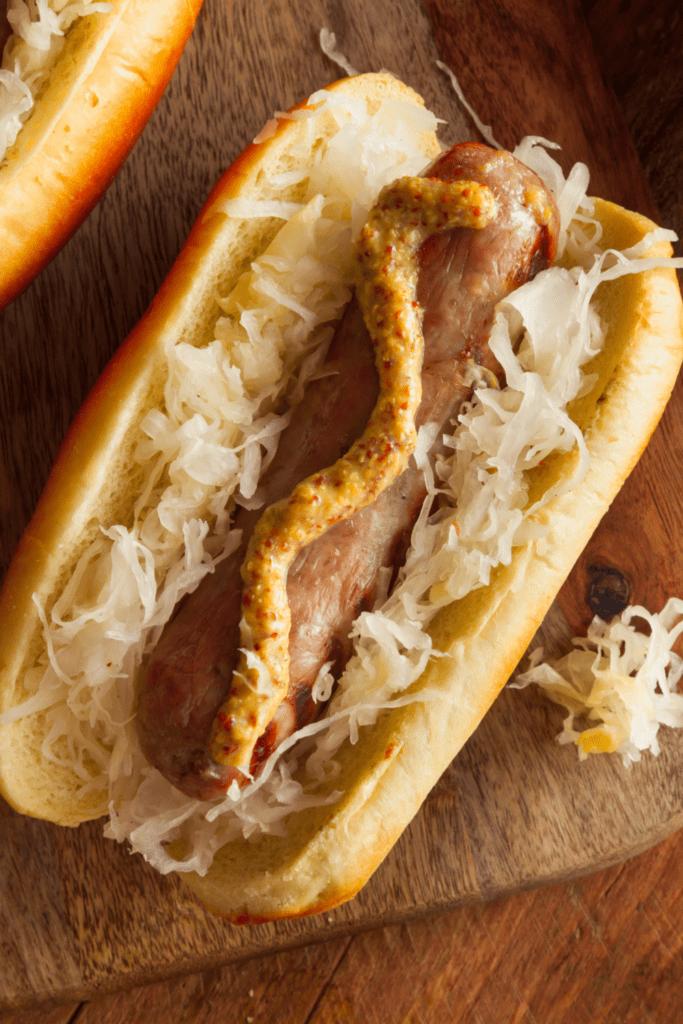 Bratwurst with Sauerkraut and Spicy Mustard Sauce