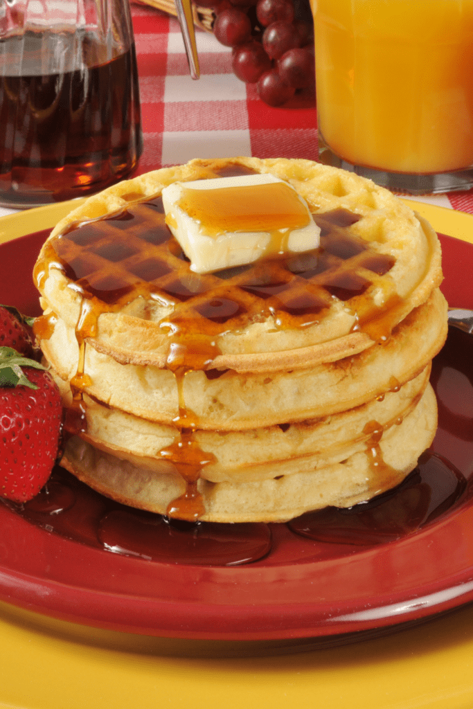 Buttermilk Waffles with Butter and Maple Syrup