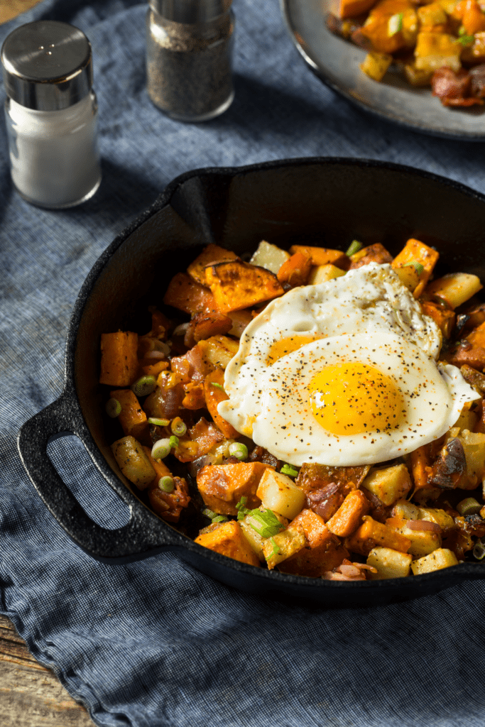 Camping Breakfast Sweet Potato Hash with Fried Eggs
