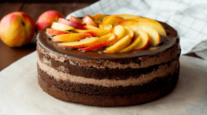 Chocolate Cake Topped with Nectarines