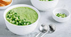 Cold Cucumber Gazpacho Soup in a Bowl