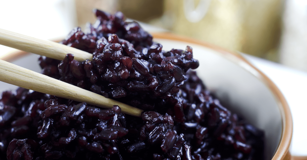 Cooked Black Rice in a Bowl