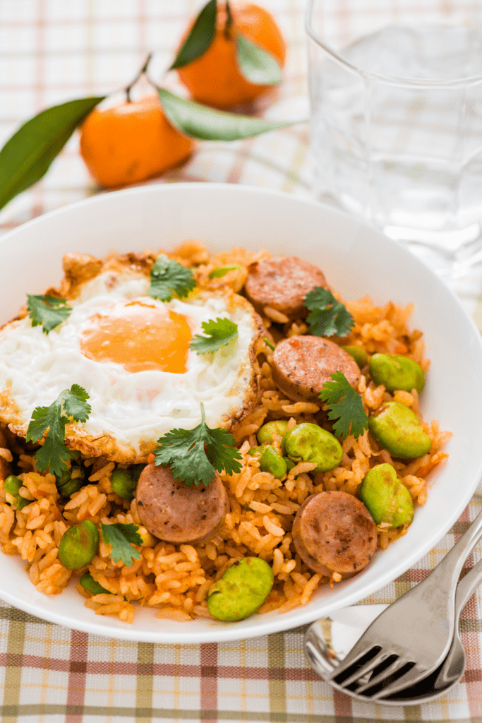 Fried Rice with Hotdog and Egg