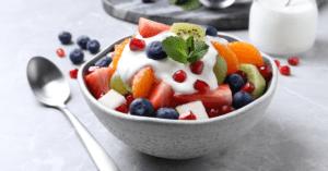 Fruit Salad with Yogurt in a Bowl