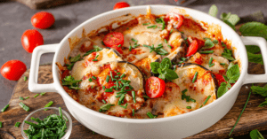Homemade Baked Eggplant with Herbs, Cheese and Tomato Sauce