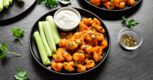 Homemade Cauliflower Bites with Dipping Sauce and Celery