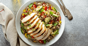 Homemade Chicken Tabbouleh in a Bowl