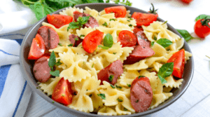 Homemade Pasta Farfalle with Sausage and Tomatoes