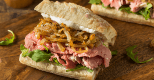 Homemade Prime Rib Sandwich with Onions