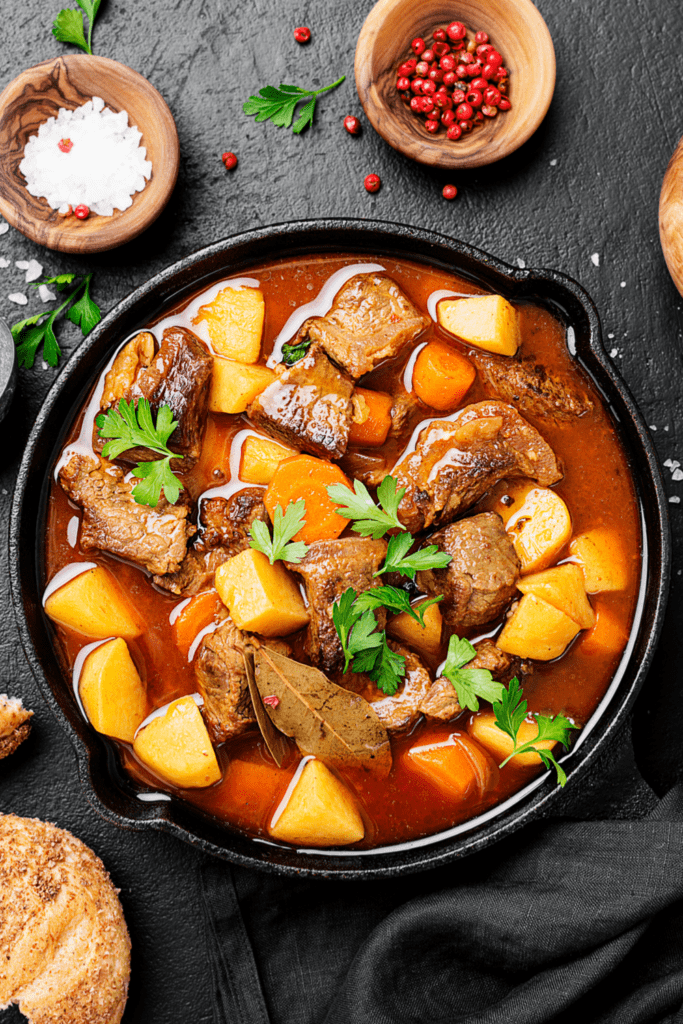 Hungarian Goulash with Beef, Carrots, Potatoes and Spices