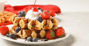 Liege Waffles with Berries and Chocolate Syrup