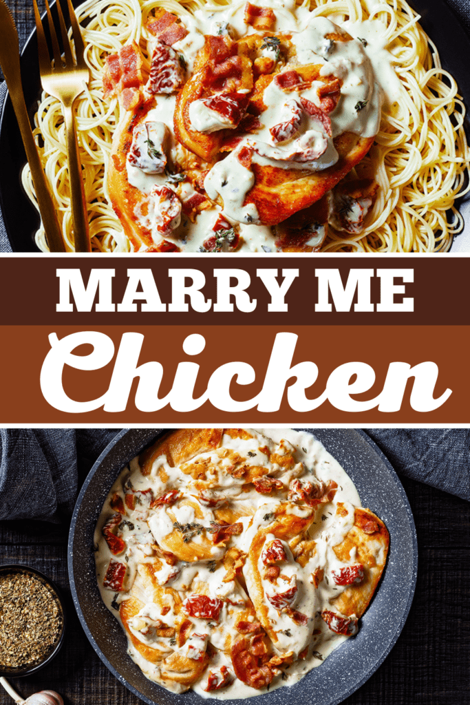 Marry Me Chicken over a bed of noodles