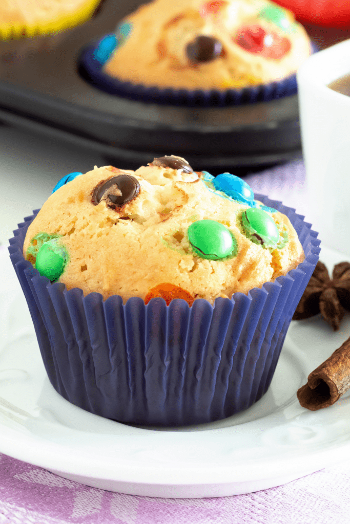 Pancake Muffins with Chocolate Candies
