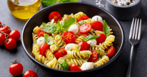 Pasta with Basil, Tomatoes and Cheese
