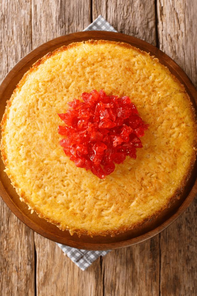 Persian Rice Cake with Egg, Yogurt and Saffron