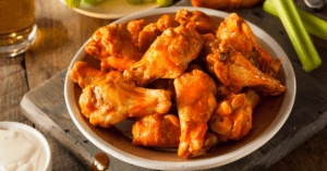 Spicy Buffalo Wings with Dip and Beer
